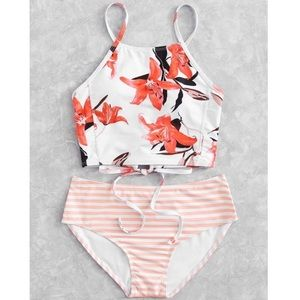 Other - Floral Striped Print Bikini